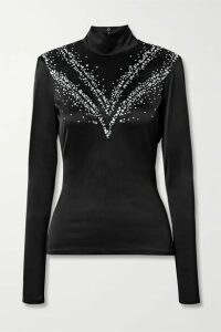 Paco Rabanne - Cutout Embellished Stretch-satin Turtleneck Top - Black