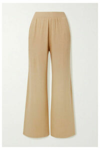 LESET - Lori Brushed Stretch-knit Wide-leg Pants - Sand