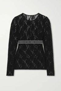 Dolce & Gabbana - Jacquard-trimmed Lace Top - Black