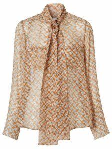 Burberry monogram print pussy-bow blouse - ORANGE