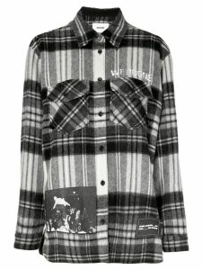 We11done printed check-flannel shirt - White