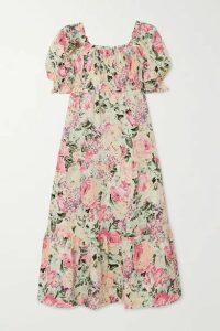 Faithfull The Brand - De Christin Shirred Floral-print Linen Midi Dress - White
