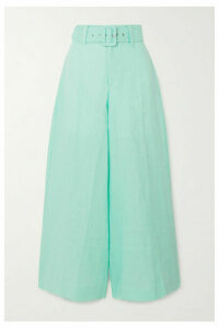 Faithfull The Brand - Rose Cropped Linen Wide-leg Pants - Turquoise