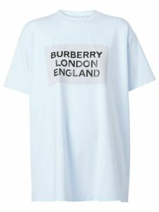 Burberry logo print oversized T-shirt - Blue