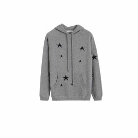 Chinti & Parker Light-grey Cashmere Star Hoodie
