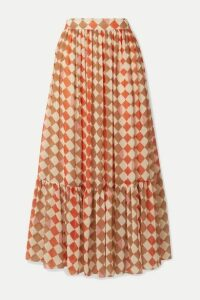 PatBO - Checked Chiffon Maxi Skirt - Orange
