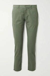 Nili Lotan - East Hampton Frayed Stretch-cotton Twill Slim-leg Pants - Army green