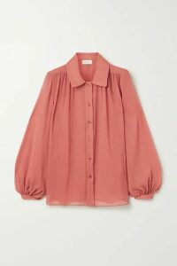 ARIAS - Gathered Crepon Blouse - Brick