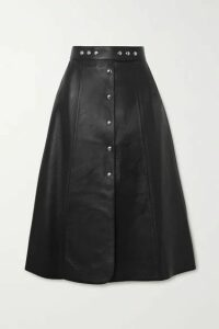 Prada - Leather Midi Skirt - Black