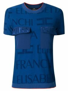 Elisabetta Franchi embroidered logo T-shirt - Blue