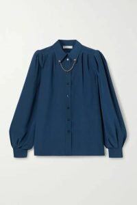 Givenchy - Chain-embellished Silk Crepe De Chine Shirt - Storm blue