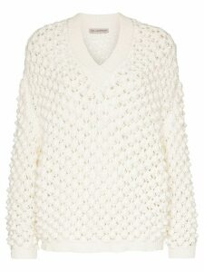 Vika Gazinskaya V-neck open weave jumper - White