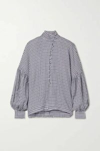 Mother of Pearl - Quinn Checked Woven Blouse - Navy