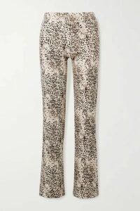 LESET - Jamie Ribbed Leopard-print Stretch-modal Wide-leg Pants - Leopard print