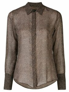 Nili Lotan Lleida micro leopard silk top - Brown