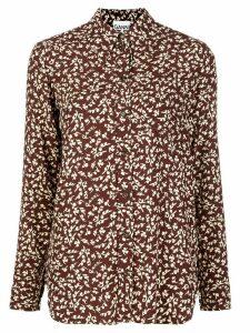 GANNI leaf print shirt - Brown