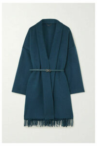 Salvatore Ferragamo - Belted Fringed Cashmere And Wool-blend Wrap Jacket - Teal