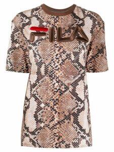Fila Hiroko snakeskin-print T-shirt - Brown