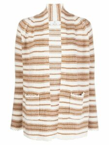 Allude open front striped knit cardigan - NEUTRALS