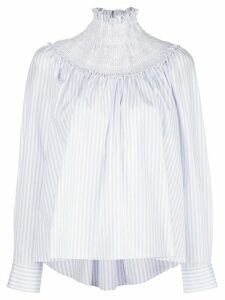 Adam Lippes smocked neck striped blouse - Blue