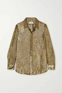 SAINT LAURENT - Metallic Silk And Lurex-blend Blouse - Gold