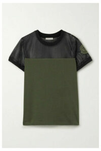 Moncler - Appliquéd Mesh And Cotton-jersey T-shirt - Army green