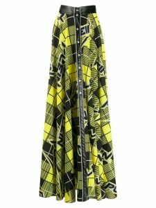 Philipp Plein long check print skirt - Black