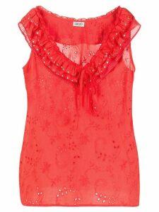 LIU JO ruffle-neck embroidered blouse