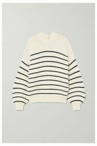 Alex Mill - Button-embellished Striped Cotton Sweater - White