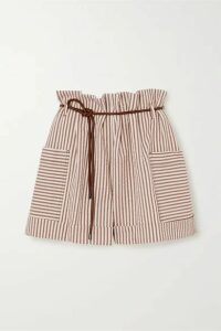Brunello Cucinelli - Belted Striped Cotton-blend Seersucker Shorts - Beige