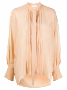 Chloé pleated bib long-sleeved shirt - NEUTRALS