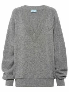 Prada v-neck oversized jumper - Grey