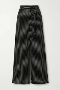 LESET - Amber Belted Pinstriped Stretch-jersey Wide-leg Pants - Black