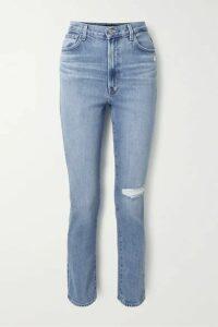 J Brand - 1212 Runway Distressed High-rise Slim-leg Jeans - Mid denim