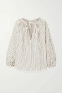 Nili Lotan - Brooke Gathered Striped Cotton-blend Voile Top - White
