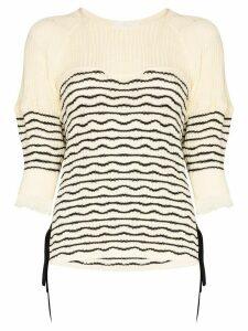 Chloé tie-side striped knit jumper - NEUTRALS