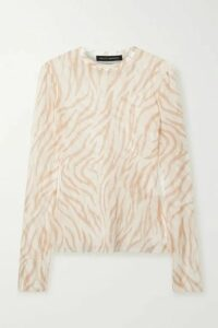 Sally LaPointe - Zebra-print Stretch-mesh Top - Ivory
