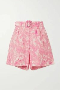 Faithfull The Brand - Les Deux Belted Tie-dyed Linen Shorts - Pink