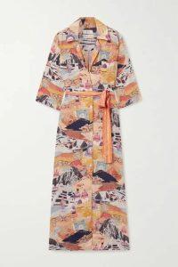 Chufy - Moray Printed Voile Maxi Shirt Dress - Orange