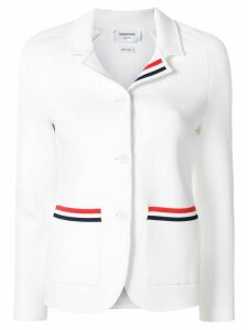Thom Browne tricolor-trim fitted jacket - White