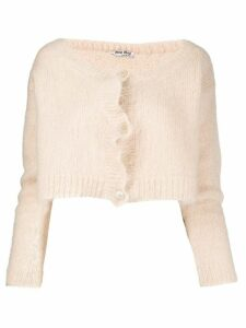 Miu Miu textured cropped cardigan - NEUTRALS