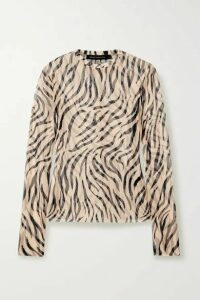 Sally LaPointe - Zebra-print Stretch-mesh Top - Beige