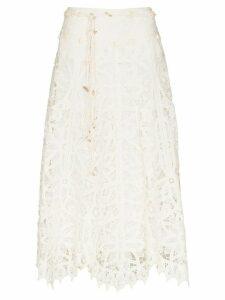 Zimmermann belted maxi skirt - White