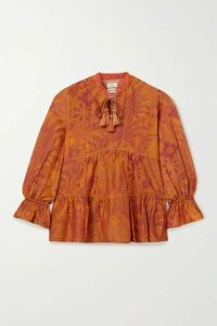 Chufy - Arequipa Tiered Printed Cotton And Silk-blend Voile Blouse - Orange