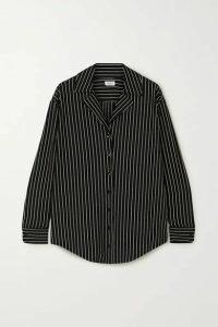 LESET - Amber Pinstriped Stretch-jersey Shirt - Black