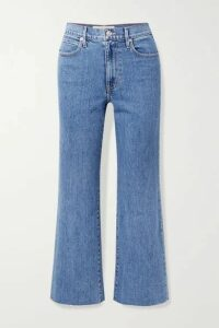 SLVRLAKE - Grace Cropped Frayed High-rise Wide-leg Jeans - Mid denim