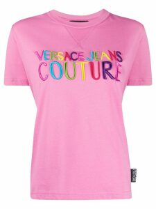 Versace Jeans Couture crew neck embroidered logo T-shirt - PINK