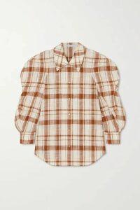 REJINA PYO - Julia Oversized Checked Cotton And Linen-blend Shirt - Ivory