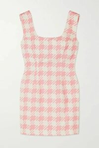 Rowen Rose - Vichy Open-back Houndstooth Cotton-twill Mini Dress - Pink