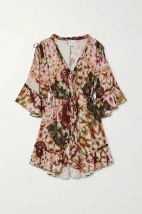 Charo Ruiz - Jane Ruffled Printed Cotton-blend Kaftan - Pink